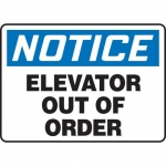 """Accuform MEQM805VP, Plastic Sign """"Notice Elevator Out of Order"""""""