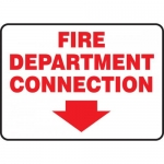 "Accuform MEXG535VA, Sign ""Fire Department Connection"" & Arrow Symbol"