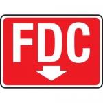 "Accuform MEXG546VA, Aluminum White on Red Sign ""FDC"" & Arrow Symbol"