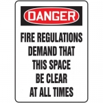 """Accuform MEXT102XP, Sign """"Fire Regulations Demand That This Space…"""""""