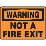 """Accuform MEXT300VA, 10″ x 14″ Aluminum Sign: """"Warning Not a Fire Exit"""""""