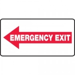 "Accuform MEXT403VS, Vinyl Sign ""Emergency Exit"" & Left Arrow Symbol"