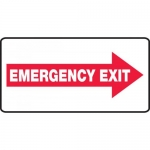 "Accuform MEXT405VS, Vinyl Sign ""Emergency Exit"" & Right Arrow Symbol"