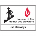 """Accuform MEXT452XL, Sign """"In Case of Fire Do Not Use Elevators…"""""""