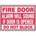 """Accuform MEXT500XL, Sign """"Fire Door Alarm Will Sound if Door is …"""""""