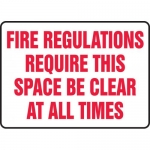 "Accuform MEXT506VA, Sign ""Fire Regulations Require This Space Be …"""