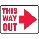 "Accuform MEXT529VA, Aluminum Sign ""This Way Out"" & Right Arrow Symbol"