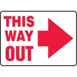 """Accuform MEXT529XL, Sign """"This Way Out"""" & Right Arrow Symbol"""