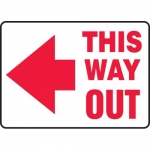 "Accuform MEXT530VS, Vinyl Sign ""This Way Out"" & Left Arrow Symbol"