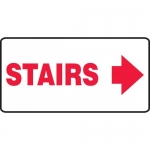 "Accuform MEXT532VS, Adhesive Vinyl Sign ""Stairs"" & Right Arrow Symbol"