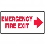 """Accuform MEXT533VP, Sign """"Emergency Fire Exit"""" & Right Arrow Symbol"""