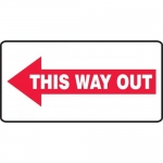 """Accuform MEXT538XF, Sign """"This Way Out"""" & Left Arrow Symbol"""