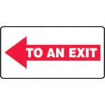 "Accuform MEXT540VP, Plastic Sign ""To an Exit"" & Left Arrow Symbol"