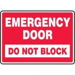 "Accuform MEXT547VS, Adhesive Vinyl Sign ""Emergency Door Do Not Block"""
