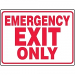 """Accuform MEXT549XT, 18″ x 24″ Dura-Plastic Sign: """"Emergency Exit Only"""""""