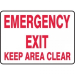"""Accuform MEXT552VP, Plastic Sign """"Emergency Exit Keep Area Clear"""""""