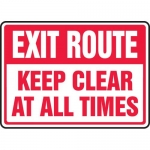 "Accuform MEXT561VS, Vinyl Sign ""Exit Route Keep Clear at All Times"""