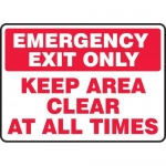 "Accuform MEXT567VS, Sign ""Emergency Exit Only Keep Area Clear at…"""