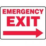 "Accuform MEXT568VP, Plastic Sign ""Emergency Exit"" & Right Arrow Symbol"