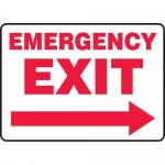 "Accuform MEXT568VS, Vinyl Sign ""Emergency Exit"" & Right Arrow Symbol"