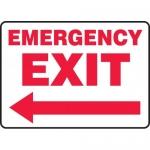 "Accuform MEXT570VP, Plastic Sign ""Emergency Exit"" & Left Arrow Symbol"