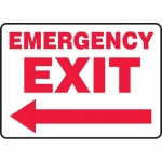 "Accuform MEXT570VS, Vinyl Sign ""Emergency Exit"" & Left Arrow Symbol"