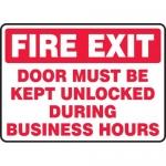 """Accuform MEXT571VA, Sign """"Fire Exit Door Must Be Kept Unlocked …"""""""