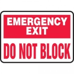 """Accuform MEXT900VP, Plastic Sign """"Emergency Exit Do Not Block"""""""