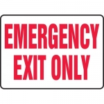 """Accuform MEXT918XT, Dura-Plastic Safety Sign """"Emergency Exit Only"""""""