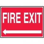 """Accuform MEXT925VA, 10″ x 14″ Aluminum Sign: """"Fire Exit"""" & Left Arrow"""