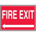 "Accuform MEXT925VS, Adhesive Vinyl Sign ""Fire Exit"" & Left Arrow"