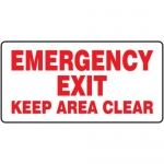 """Accuform MEXT931VP, Plastic Sign """"Emergency Exit Keep Area Clear"""""""