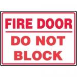 """Accuform MEXT933VA, 10″ x 14″ Aluminum Sign: """"Fire Door Do Not Block"""""""
