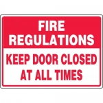 """Accuform MEXT937VA, Sign """"Fire Regulations Keep Door Closed…"""""""