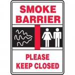 """Accuform MEXT940VA, Aluminum Sign """"Smoke Barrier Please Keep Closed"""""""