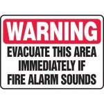 """Accuform MFEX303XL, Sign """"Warning Evacuate This Area Immediately …"""""""