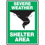 """Accuform MFEX503XT, Dura-Plastic Sign """"Severe Weather Shelter Area"""""""