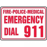 "Accuform MFEX505VA, Sign ""Fire Police Medical Emergency Dial 911"""