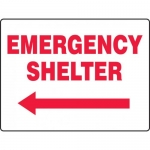 """Accuform MFEX515VP, Sign """"Emergency Shelter"""" & Left Arrow Symbol"""