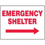"Accuform MFEX516VS, Sign ""Emergency Shelter"" & Right Arrow Symbol"
