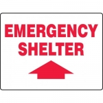 "Accuform MFEX517VS, Vinyl Sign ""Emergency Shelter"" & Up Arrow Symbol"
