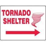 "Accuform MFEX518VP, Sign ""Tornado Shelter"" & Right Arrow"