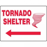 "Accuform MFEX519VP, Graphic Sign ""Tornado Shelter"" & Left Arrow"
