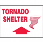 "Accuform MFEX521VP, Plastic Sign ""Tornado Shelter"" & Up Arrow Symbol"