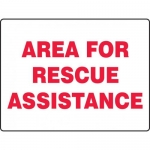 """Accuform MFEX522XT, Dura-Plastic Sign """"Area for Rescue Assistance"""""""