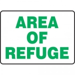 """Accuform MFEX525VP, 10″ x 14″ Plastic Sign: """"Area of Refuge"""""""