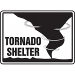 """Accuform MFEX528XT, Dura-Plastic Safety Sign """"Tornado Shelter"""""""