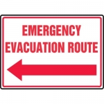 """Accuform MFEX550VP, Sign """"Emergency Evacuation Route"""" & Left Arrow"""