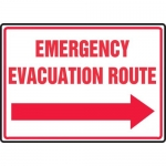 "Accuform MFEX551VS, Sign ""Emergency Evacuation Route"" & Right Arrow"