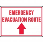 "Accuform MFEX554XV, Sign ""Emergency Evacuation Route"" & Up Arrow"
